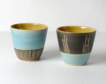 2 handcrafted espresso cups