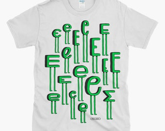 Screen-printed E17 T-shirt - illustrated quirky letter pattern tee