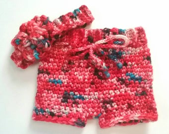 4th of July Baby Girl Shorts and Headband Set - 3 month - Red White & Blue - Crochet