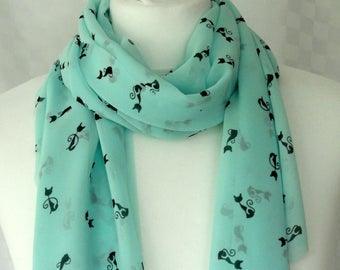 Cat print scarf, Cat scarf, Mint green scarf with cat print, Cute cat scarf, Gift for cat lover, Lightweight scarf