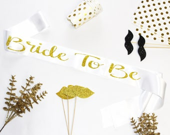 Bride To Be Glitter Sash, Gold Rose Sash, Bash Party, Hen Party, Bachelorette,Bridal Shower, Party Satin Sash, Birthday Sash, Model MM