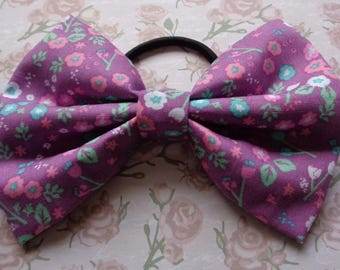 Purple Flower Print Fabric Hair Bow