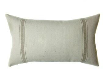Grain Sack Pillow Cover | Modern Farmhouse | Tan Lumbar