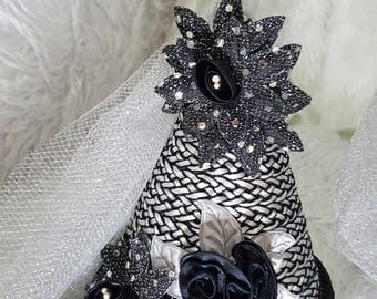 Damsel in Distress Silver & Black Satin Rose and Sunflowers Children's Fantasy Medieval Style Princes Wimple Hat