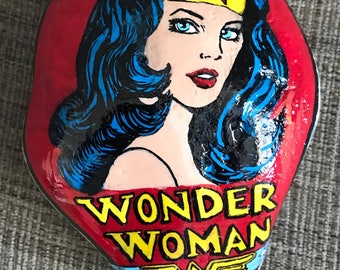 Wonder Woman hand painted rock paperweight custom