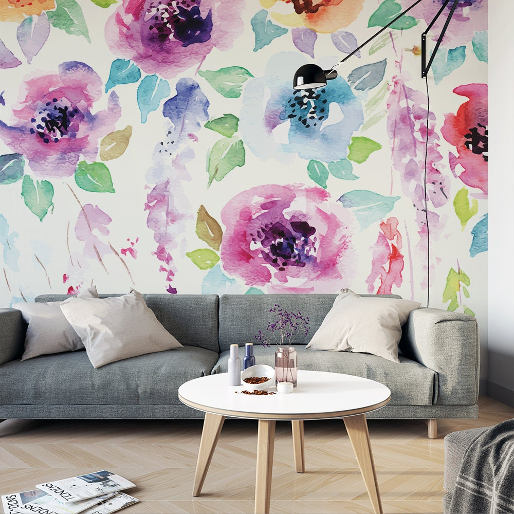 Watercolor flowers painted wall mural floral removable wallpaper watercolor flowers painted wall mural floral removable wallpaper botanical self adhesive wall mural m2279 amipublicfo Image collections