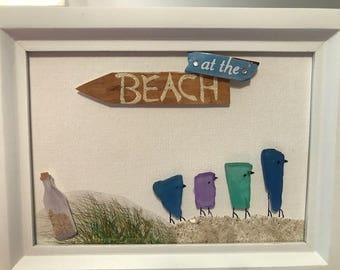 Sea Glass Picture Art  - Heading to the Beach