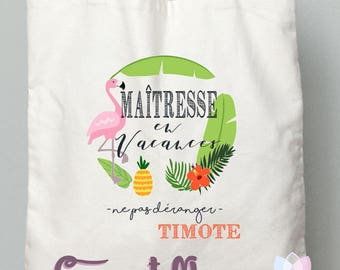 """TEACHER gift Tote bag """"centerpiece on holiday"""" tropical style - end of year gift"""
