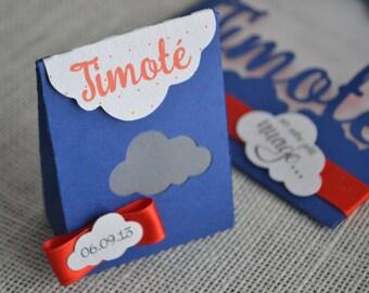Box dragees boy cloud blue and orange theme