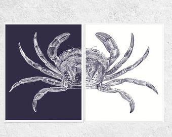 Crab Printables | Crab Art Prints | Navy and White | Beach Decor | Beach Art | Nautical Art | Printable | Print | Crab Art