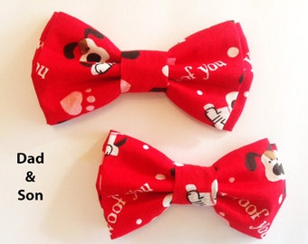 Bow Tie, Mens Bow Tie, Dad and Son Bow Tie, Dog Bow Ties, Matching Dog Bow Tie, Valentines Bow Tie, Dog Bowtie, Bowtie, Boys Bow Tie  DS754
