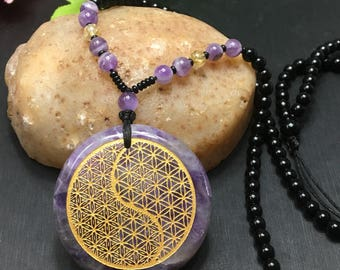 Natural Amethyst crystal Taiji&Flower of Life Pendant Necklace
