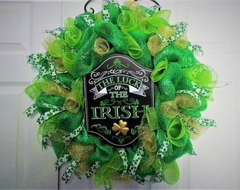 Front Door Wreath, Outside Wreath, Inside Wreath, Deco Mesh Wreath, St Patricks Day Wreath, Home Decor, Hostess Gift, Irish Wreath