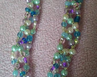 Multi-Colored Spring Multi-Strand Braided Bead Necklace