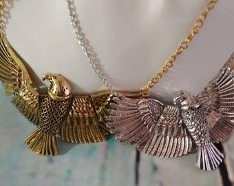 Eagle Necklace, Eagle Chain, Vintage Necklace, Antique Silver Necklace, Antique Gold Necklace