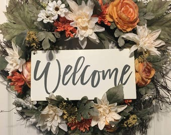 Welcome Sign | Welcome wreath sign | front door sign | hanging welcome sign |
