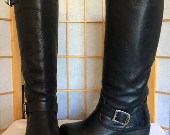 Frye Vera Tall Harness Black Leather Riding Motorcycle Boots 7B