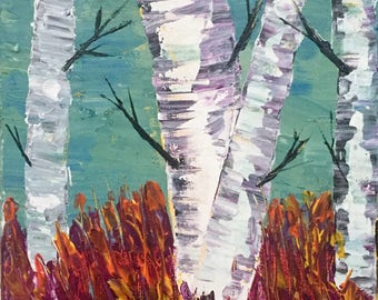 Autumn Birch Trees Painting