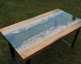 Teredo Clam Wood Fir Table - River Table Inspired // Conversation Piece