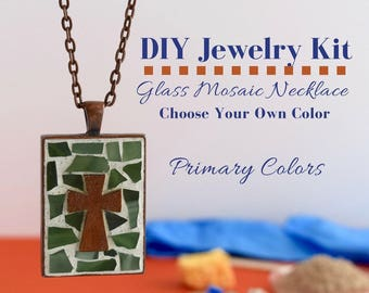 Cross Necklace Making Kit, Mosaic Glass Jewelry Activity, Copper Rectangle Bezel, Choose Your Own Colors, includes wooden cross