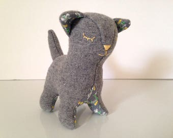Gray Wool Plush Cat