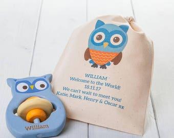 Personalised Owl Teething Ring Toy In Personalised Bag
