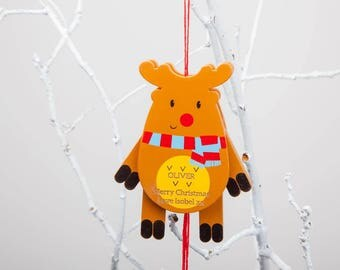 Personalised Reindeer Jumping Jack Hanging Decoration