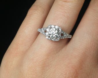 Split shank 1.11carats diamond engagement ring