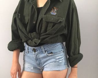 Oversized Vintage Forest Green Button Down