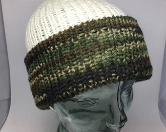 Slouchy reversible camouflage /camo and cream hand knitted hat