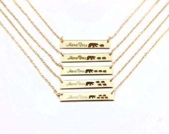 Engrave Bar Mama Bear Cubs Pendant Necklaces Mother's Day Gift Baby Shower