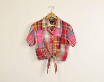 Tie Front Blouse, 90s Plaid Blouse, Vintage 90s Crop Top, Tie Front Crop Top, 90s Summer Blouse, Carol Little Blouse, Loose Cotton Blouse