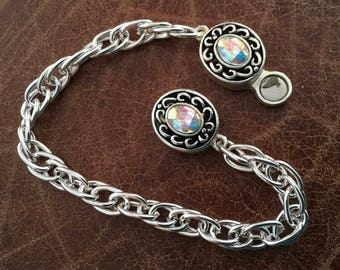 Silver plated chain bracelet with magnetic clasp
