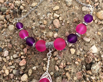 Violet and Hot Pink Sea Glass Necklace