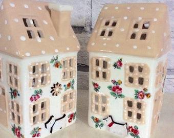 Handmade Cath Kidston Highgate Ditsy Dog ceramic tealight House