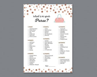 Rose Gold Whats in your Purse Game Printable, Bridal Shower, Fun Bachelorette Party, Wedding Shower Games, Purse Raid, Purse Hunt, A008