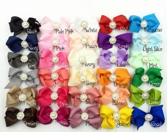 8cm 30colors Handmade Grosgrain Bows+Pearl Buttons Ribbon Boutique Flower Bows+Clip For Kids Girls Hair Accessories