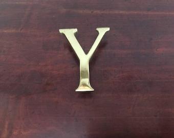 Vintage Solid Brass Y Letter