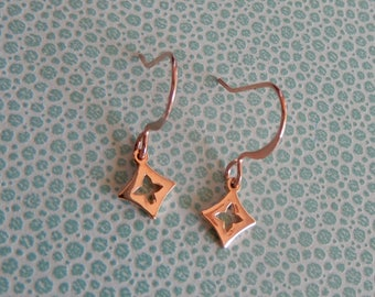 Tiny cute little shiny rose gold plated Clover hook earrings
