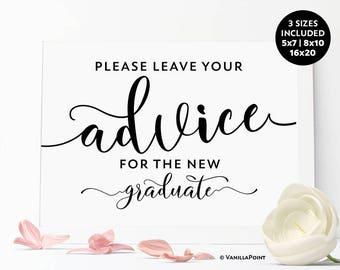 Graduation Advice Sign, Advice For Graduate Sign, Grad Party Games, Grad Party Sign, Rustic Graduation Party Sign, Graduation Printables