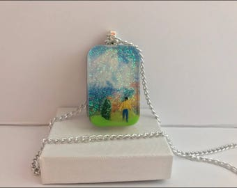 Pendant , rectangle resin , miniature person and tree