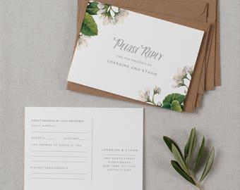 Postcard RSVP Template, Printable Wedding Postcard RSVP, Postcard Reply Cards, Post Card RSVP, Editable Rsvp Postcard Template - KPC05_103