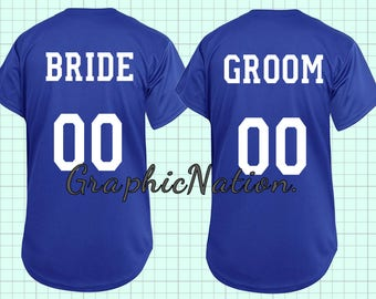 Customizable Bride or Groom Baseball Jersey. Matching Mr. or Mrs. Jersey.