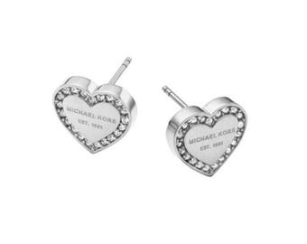 Michael Kors Silver Gold Rose Heart Stud Earrings