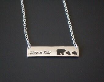 silver tone mama bear 2 baby bear necklace