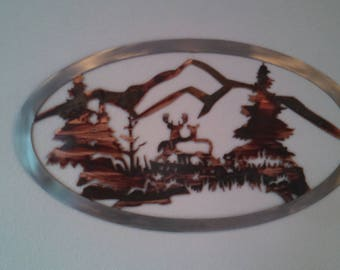 Deer in the forest metal wall decor
