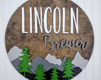"18"" Round Custom Mountains Name Wood Sign 