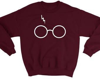 Harry Potter Sweatshirt Sweater - Glasses with Lightning Bolt Scar - Unisex - Awesome Hogwarts  Sweatshirt - Super Soft Fleece Interior - A+