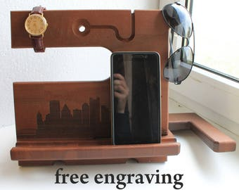 Christmas gift ideas for Men Desk organizer iPhone Personalized Men Docking Station Charging Station wood docking station Desk organizer