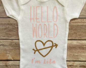 Hello World Onesie, Hello World Outfit, Baby Girl Onesie, Newborn Girl Outfit, Toddler Girl Shirt, Baby Girl Coming Home Outfit